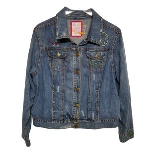 Avenue Jeans Peace Embroidered Denim Jacket 22 24